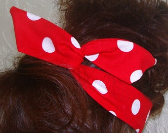 Dolly Bow, Rosie the Riveter Large Red and White Polka Dots Wire Headband Teen Woman Girl Rockabilly Pinup 50s Hair