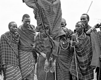 Masai Men Dancing and Jumping Black and White Limited Edition Print 3\/400