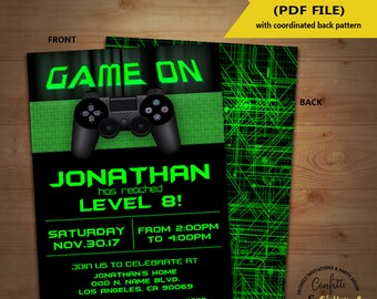 Video game birthday party invitation game on invite gaming party games truck green invite YOU EDIT TEXT and print yourself invite 5594