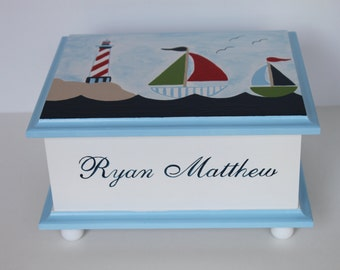 Personalized Baby Keepsake Box Memory Box lighthouse & sailboats nautical baby gift hand painted baby shower gift unique baby gift