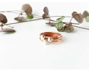 Copper  Rings - Sterling Silver bead - Stackable Rings - Set of 3 - Copper with silver bead - Statement Rings - Handmade
