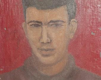 Antique expressionist oil painting portrait