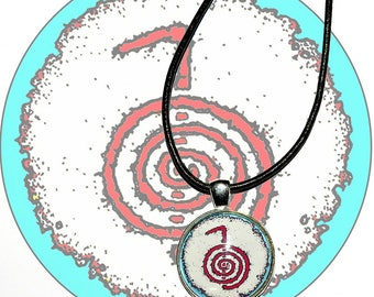 Hand Made Pendant Necklace. Cho-ku-rei reiki symbol. White, red and blue.