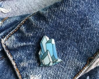 Handmade Ice Blue Raw Crystal Cluster Resin Lapel Pin