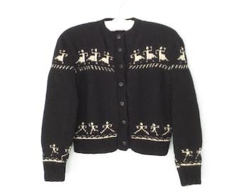 1940s sweater * 40s cardigan sweater * vintage sweater * cropped cardigan * black sweater * medium