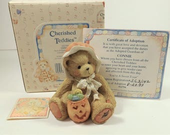 Cherished Teddies, Enesco, Connie, Your a Sweet Treat, dated 1993, Teddy Bear with Jack O Lantern, Limited Edition Collectibles