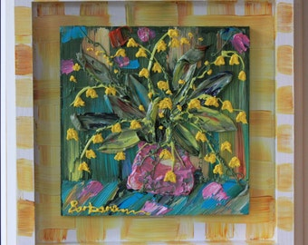 Lilies of the  Valley, hand painted frame, colorful, handmade, custom, Abstract Floral Impasto Painting, Item# 319  12x12