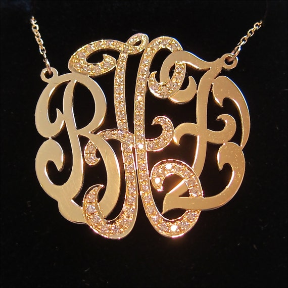 Medium 14k gold monogram necklace with diamond middle initial mozeypictures Choice Image