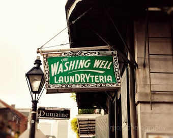 new orleans photography laundry room art bathroom decor sign photography french quarter The Washing Well