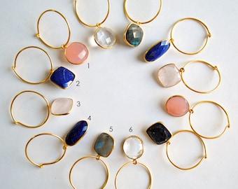 Gemstone Hoop Earrings. Sterling Silver & Natural Gemstone Jewelry. Bridesmaid Gifts. Everyday Lapiz, Labradorite, Quartz, Chalcedony Hoops