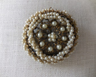 Vintage 1950s to 1960s Gold Tone Filigree Tiny Pearl Pin/Brooch Antiqued Looking Teenie Pearls