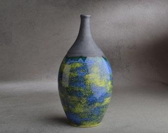Bottle Vase Ready To Ship Blue Green Slender Neck Stoneware Bottle Vase by Symmetrical Pottery