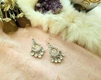 Swarovski crystal, silver, chandelier earrings