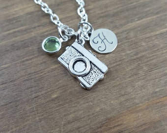 Personalized Camera Necklace - Hand stamped Monogram Camera Necklace - Initial, Birthstone Necklace - Photography Lover Necklace