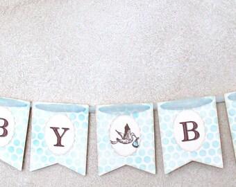 Baby Boy Stork Banner, Baby Boy Shower Decorations, Blue Dot Banner for Baby Shower