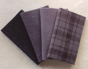 """Hand Dyed Wool Felt, SMOKE, Four 6.5"""" x 16"""" pieces in Cool Gray, Perfect for Rug Hooking, Applique and Crafts"""