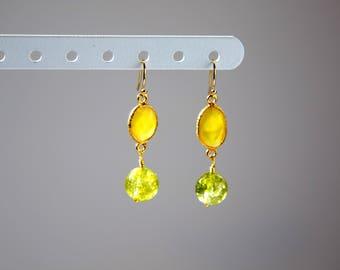 Elegant Peridot and Yellow Chalcedony Earrings, Gold, sale