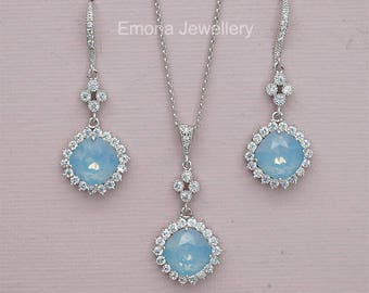 Blue Bridesmaid Gift  Opal Earrings Necklace Set Bridesmaid Jewelry Set, Blue Bridesmaid earrings,Blue  bridesmaid necklace,