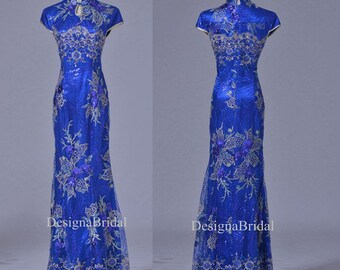 Blue Qipao Dress Long,Lace Chinese Vintage Cheongsam Holiday Dresses,Gold Fishtail Traditional Chinese Dress,Chinese Wedding Party Dress