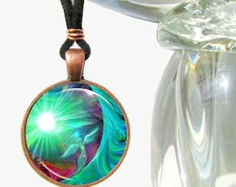 Green Heart Chakra Jewelry, Energy Art Pendant Necklace, Reiki Angel Necklace