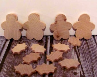 Lara's Crafts American Made Wood Parts Folk Art Ginger-man and Holly Leaf