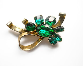 Vintage Bow Brooch Emerald Rhinestone Mother's Day 1930s
