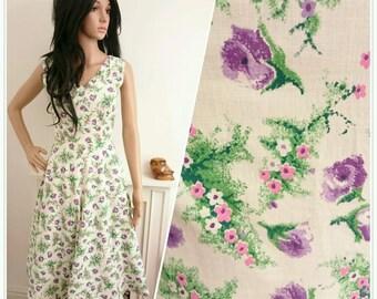 Vintage Original 1950s Lilac Floral Print Rose Daisy Cotton Dress 50s UK 6 8 / EU 34 36 / US 2 4