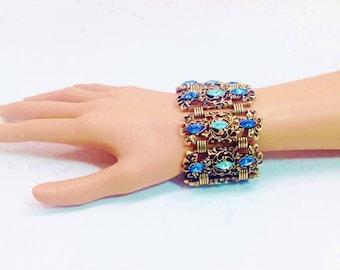 Livre fleuri Vintage chaîne Blues Aqua Marquis strass Bracelet fleuri massif Baroque Art Nouveau Bracelet manchette jonc fleuri déclaration