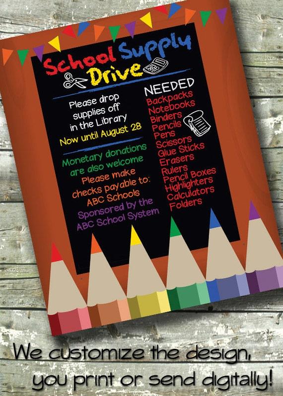 school supply drive church or community event 5x7 invite