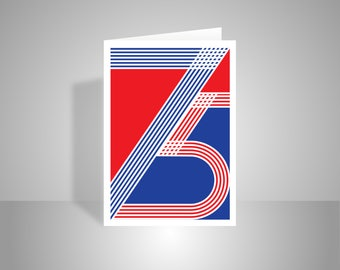 75th Happy Birthday Card for him for her red white blue typography patriotic mum dad grandma uncle sister brother add message option
