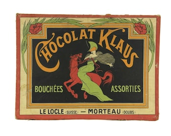Antique French Chocolate Box Lid with Advertising for Chocolat Klaus. French Art Nouveau Print.