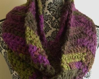 Purple & Green Infinity Scarf - Crochet Chevron Loop