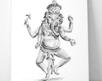Ganesha Art  - zen watercolor - giclee print - Ganesha painting - black ink - Hinduism art - Hindu elephant God- Ganesha illustration