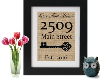 Personalized First Home Burlap Sign - Address Decor - Personalized Gift - New Home - Housewarming Gift - First Home Sign