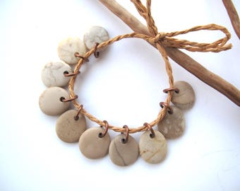 Rock Charms Beach Stone Beads Small Pebble Beads Jewelry Findings Mediterranean River Rock Beads Pairs Copper BEIGE CHARMS 15-16 mm