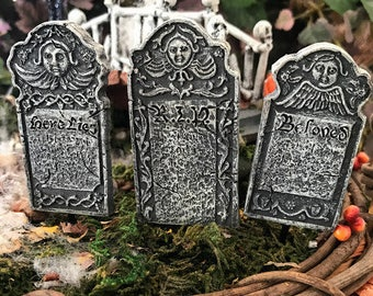 Miniature Victorian Headstones/Gravestones/Tombstones - Set of 3