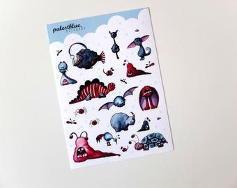Cute Monster Stickers - A6 Sticker Sheet