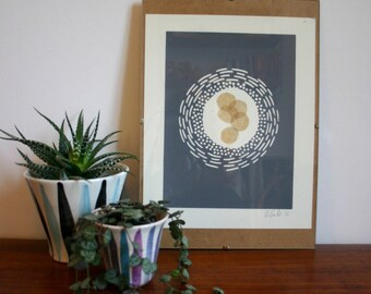 Abstract grey modernist lino print with paper featuring Chine-collé