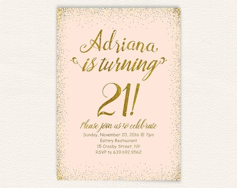 Coral gold glitter 21st birthday party invitation for women, peach and gold 21st birthday invitation, digital printable jpg file 6