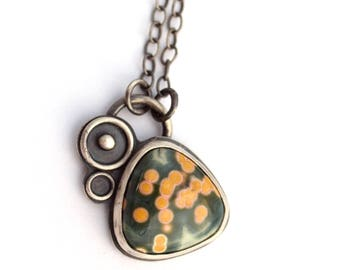 Madagascar Ocean Jasper Necklace,  Oxidized Silver Necklace Inspired by Space, Green and Yellow Ocean Jasper Necklace, Metalsmith Jewelry