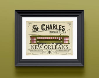 New Orleans print | Louisiana decor | New Orleans gifts | New Orleans decor | New Orleans art | Trolley car | Louisiana art | NOLA