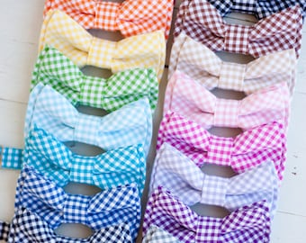 The Beau- men's gingham collection double stacked bow ties- choose from 16 shades (clip or strap selection)