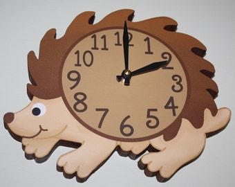 Hedgehog Woodland Forest Friends Animal Wooden WALL CLOCK Kids Bedroom Baby Nursery WC0081