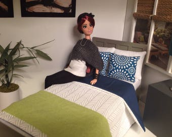 """Dollhouse Bed for 10.5""""-12"""" tall dolls, dollhouse furniture, 1:6 scale"""