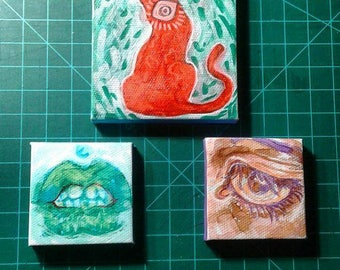 Lips mini canvas painting 2x2