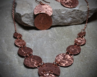 Copper earrings.  Copper necklace. Copper earring and necklace set. Etched copper. Handmade copper jewelry.