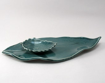 Ceramic Leaf Plate, Pottery Plate, Appetizer Set, Snack Set, Serving Plate, Handmade Tableware