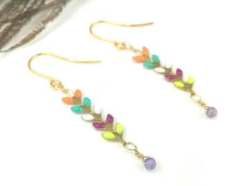 Gold Dangle Earrings, Gemstone Earring, Wire Wrapped Earring, Gold Earrings, Gold Jewelry, Dangle Earrings, Drop Earrings, Boho Earrings