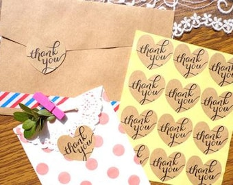 120 Wedding Heart Shape Kraft Label Sticker Thank You for Weddings, Cards, Envelopes, Packaging and More