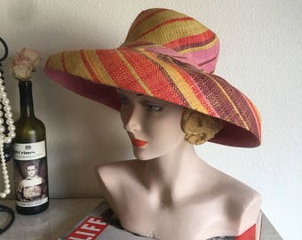 Vintage 1950's Colorful Straw Sun Hat with Wide Brim